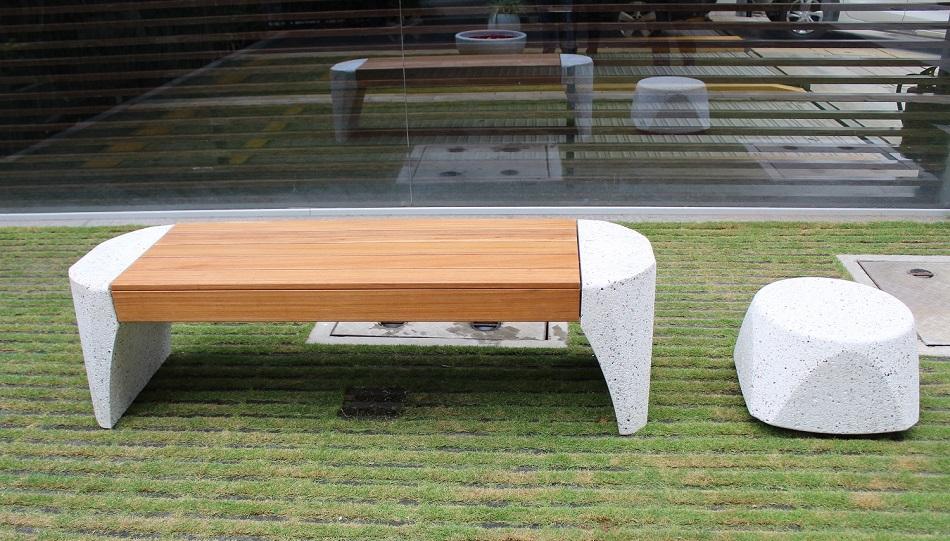 Precast Bench and Side Table (Bollard)